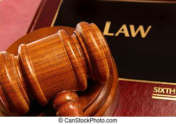 jueces, libro, primer plano, sobre, martillo, ley