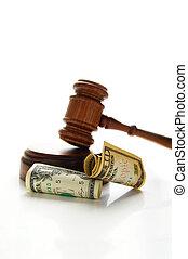 jueces, tribunal, dinero, suit), martillo, (law
