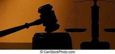 jueces, tribunal, escalas, justicia, martillo, silueta