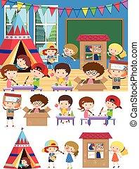 juego, aula, niños, aprendizaje