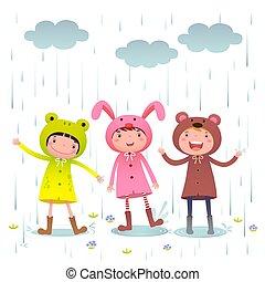 juego, botas, colorido, [converted], lluvioso, impermeables, día, niños, llevando
