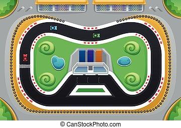 Juego de carreras de coches visto desde arriba