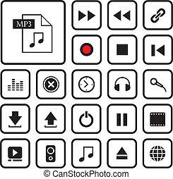 Juego de iconos de botón de música