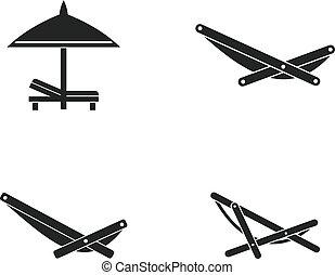 Juego de iconos de la silla de cubierta, estilo simple