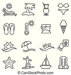 Juego de iconos de playa y verano