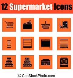 Juego de iconos de supermercado