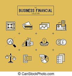 Juego de iconos financieros de negocios