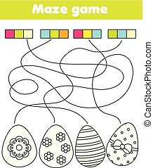 Juego de laberintos para niños. Conecta colores y huevos. Página de color de Pascua para niños