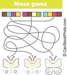 Juego de laberintos para niños. Conecta colores y mariposas. Laberinto y colorear páginas para niños