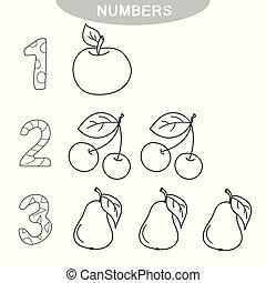 Juego educativo, números de aprendizaje. Libro de color para niños de preescolar