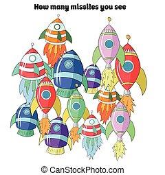 Juego educativo para niños cuántos cohetes