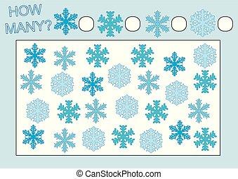 Juego educativo para niños. Cuenta cuántos copos de nieve. Ilustración de vectores.