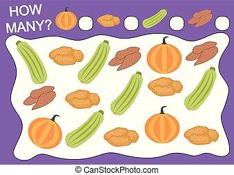 Juego educativo para niños de preescolar. Cuenta cuántos objetos de vegetales. Actividad de lectura. Ilustración de vectores.
