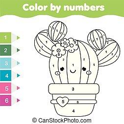 Juego educativo para niños. Página de color con cactus lindos. Color por número, actividad imprimible