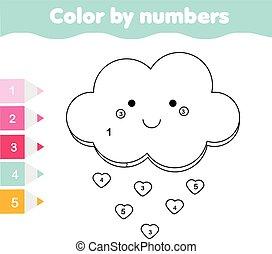 Juego educativo para niños. Página de color con linda nube. Color por número, actividad imprimible
