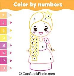 Juego educativo para niños. Página de color con linda prnicess. Color por número, actividad imprimible