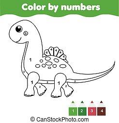 Juego educativo para niños. Página de color con lindo dinosaurio. Color por número, actividad imprimible