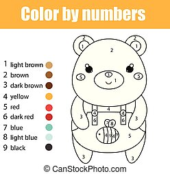 Juego educativo para niños. Página de color con oso lindo. Color por número, actividad imprimible