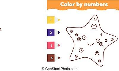 Juego educativo para niños. Página de color con sarfish lindo. Color por número, actividad imprimible