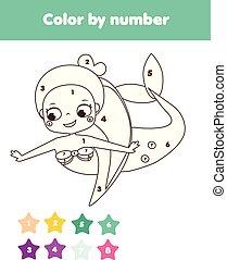 Juego educativo para niños. Página de color con sirena linda. Color por número, actividad imprimible