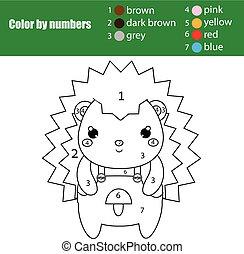 Juego educativo para niños. Página de color con un lindo erizo. Color por número, actividad imprimible