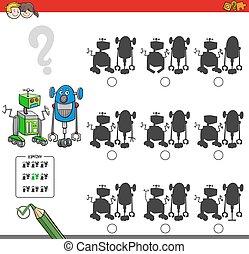 juego, educativo, sombra, robotes