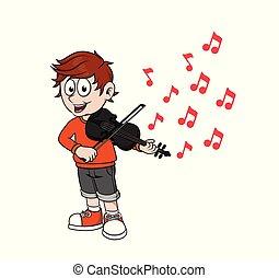 juego, escalas, violín, niño