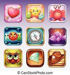 juego, google, iconos de computadora, app, conjunto, juegos, vario, temas, tienda
