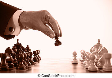 juego, hombre de negocios, juego, sepia, ajedrez, tono