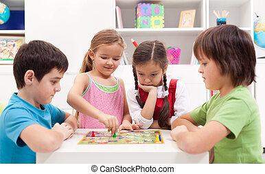 juego, juego, tabla, niños