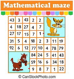 juego, kids., caricatura, rectángulo, worksheet., children., page., adivinanza, maze.cat, matemático, labyrinth., characters., educación, número, perro, actividad