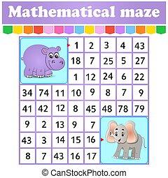 juego, kids., caricatura, rectángulo, worksheet., children., page., hipopótamo, maze., adivinanza, matemático, labyrinth., characters., educación, número, elephantl., actividad