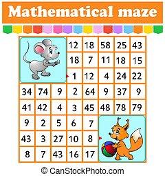 juego, kids., caricatura, rectángulo, worksheet., ratón, children., page., adivinanza, maze., squirrel., matemático, labyrinth., characters., educación, número, actividad