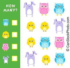 Juego matemático educativo para niños. Cuántos animales calculan. Ilustración de vectores.