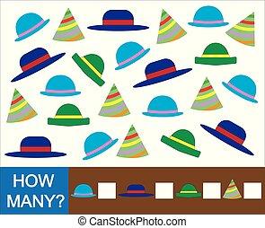 Juego matemático educativo para niños. Cuenta cuántos sombreros. Ilustración de vectores.