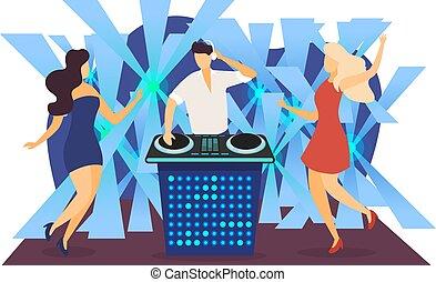 juego, musical, hembra, club, acompañamiento, dj, overnight., illustration., carácter, música, pista, baile, fiesta, macho, noche, plano, vector, aislado, blanco
