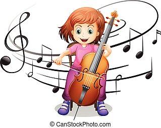 juego, niña solamente, violoncelo