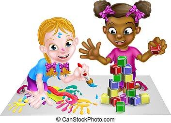 juego, niñas, pinturas, bloques