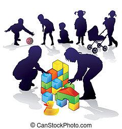 juego, niños, construya