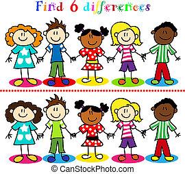 juego, niños, figuras, palo, diferencia