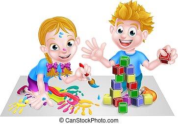 juego, niños, pintura, bloques, edificio