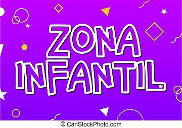juego niños, zona, señal, niño, bandera, vector, infantil, -, inglés, fondo., zona campo juegos, diseño