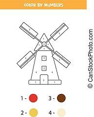 juego, página, mill., caricatura, numbers., colorido, color, matemáticas