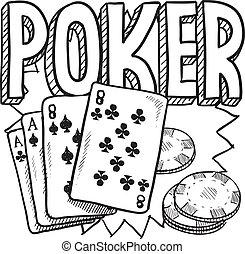 juego, póker, bosquejo