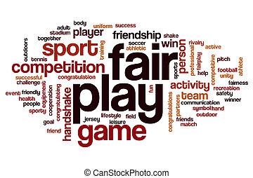 juego, palabra, justo, nube