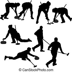 juego, silueta, curling
