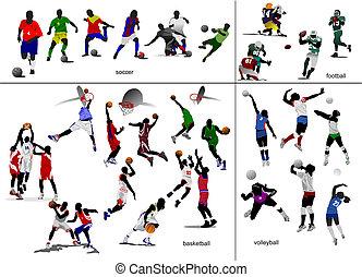 Juegos con pelota. Fútbol, fútbol, baloncesto, voleibol. Ilustración del vector