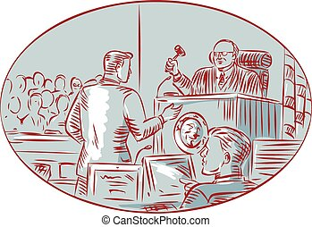 juez, acusado, aguafuerte, courtroom