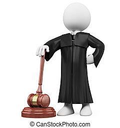 juez, bata, martillo, 3d
