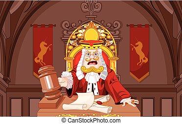 juez, corazones, rey, martillo